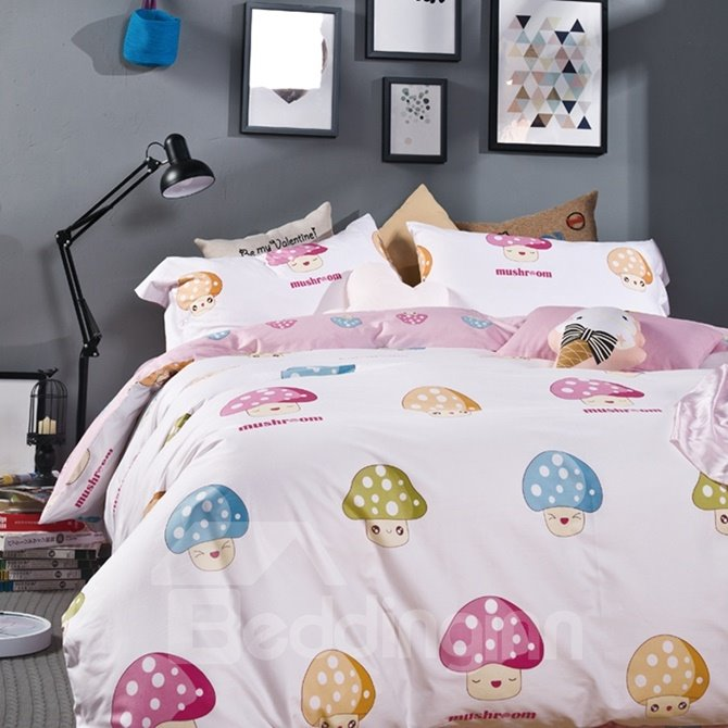 Lovely Mushroom Print 4-Piece Cotton Duvet Cover Sets