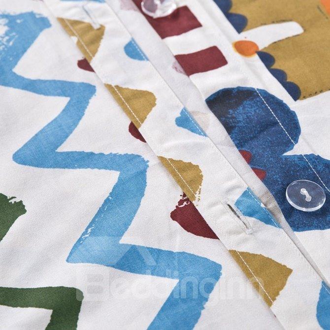 Adorable Cartoon Animal and Letter Print 4-Piece Cotton Duvet Cover Sets