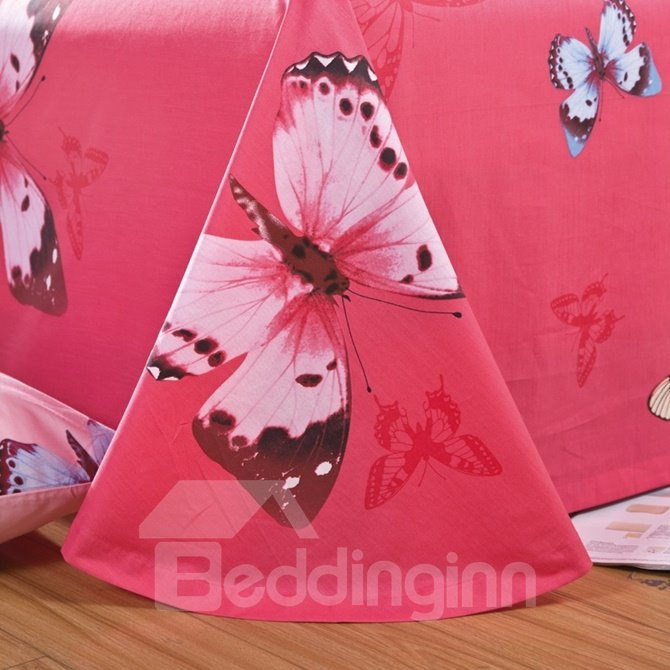 Fabulous Colorful Butterfly Print 4-Piece Cotton Duvet Cover Sets