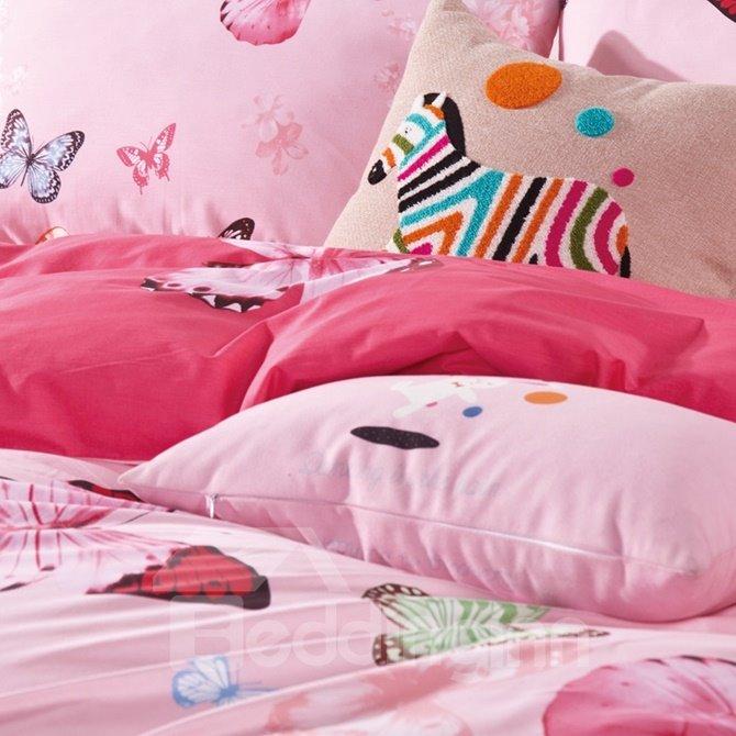 Fabulous Colorful Butterfly Print 4-Piece Cotton Duvet Cover Sets
