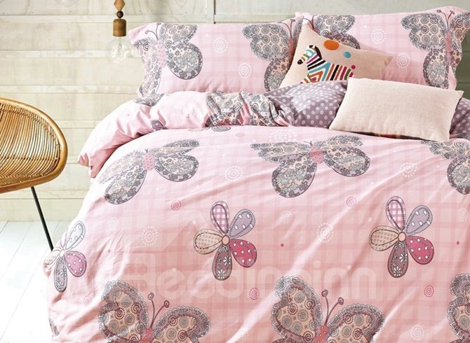 Butterfly and Five-petaled Flowers Print 4-Piece Cotton Duvet Cover Sets