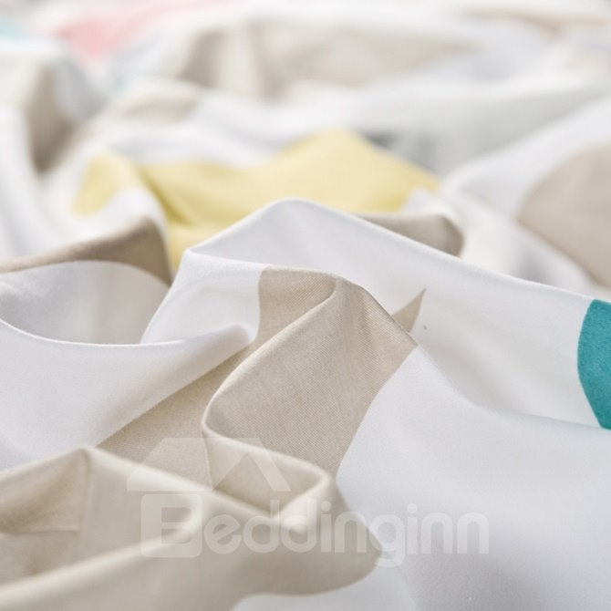 Creative Colorful Raindrop Print 4-Piece Cotton Duvet Cover Sets