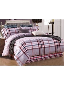 European Style Plaid Print 4-Piece Cotton Duvet Cover Sets