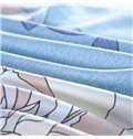Deluxe White Peony Print Sky Blue 4-Piece Cotton Duvet Cover Sets