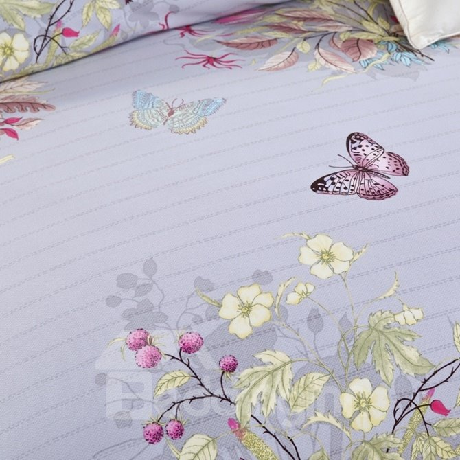 American Country Style Floral and Butterfly Print 4-Piece Cotton Duvet Cover Sets