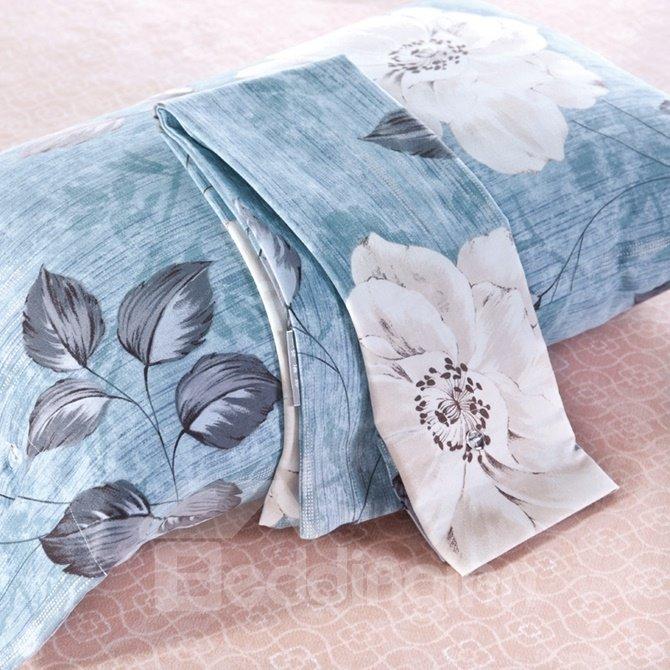 Beautiful Peony Print Blue 4-Piece Cotton Duvet Cover Sets