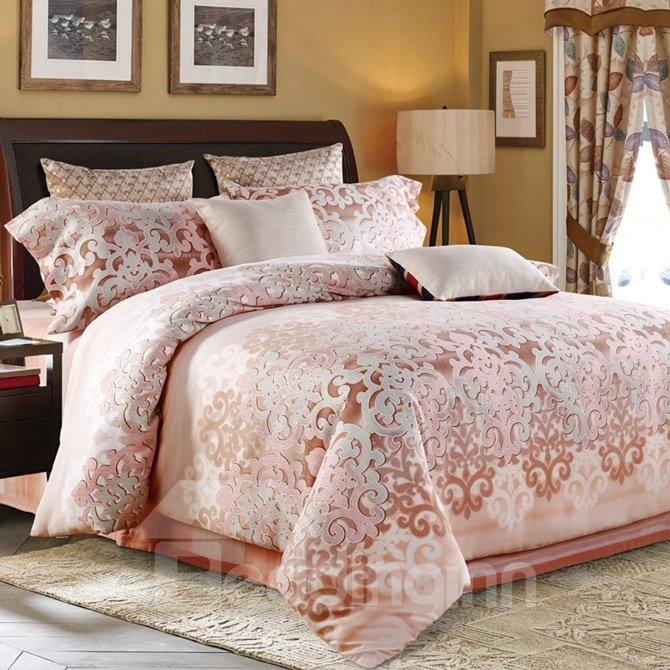 Fashion Pastoral Style Pink 4-Piece Cotton Duvet Cover Sets