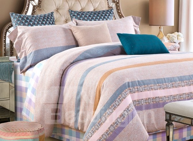 Gentle Stripes Print 4-Piece Cotton Duvet Cover Sets