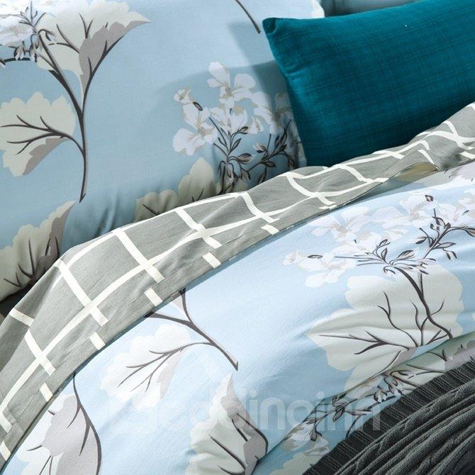 Noble Exquisite Floral Print Blue 4-Piece Cotton Duvet Cover Sets