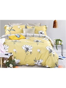 Splendid Floral Print Yellow 4-Piece Duvet Cover Sets
