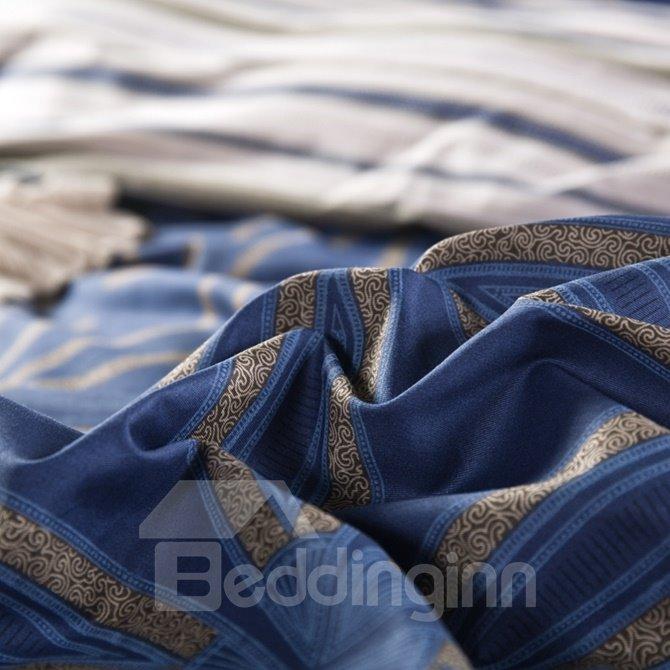 Five-petaled Flowers Print Dark Blue 4-Piece Cotton Duvet Cover Sets
