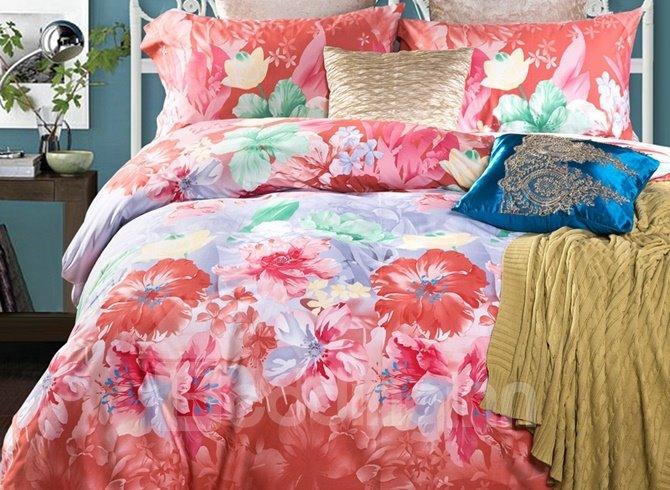 Fabulous Rosy Floral 4-Piece Cotton Duvet Cover Sets