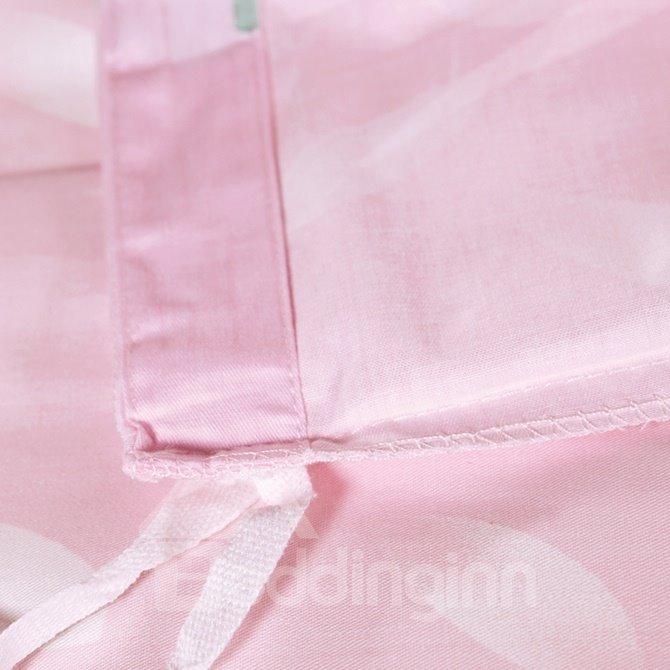 Pastoral Style Floral Print Pink 4-Piece Cotton Duvet Cover Sets