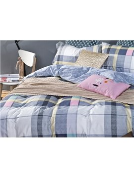 100% Cotton Plaid Print 4-Piece Duvet Cover Sets