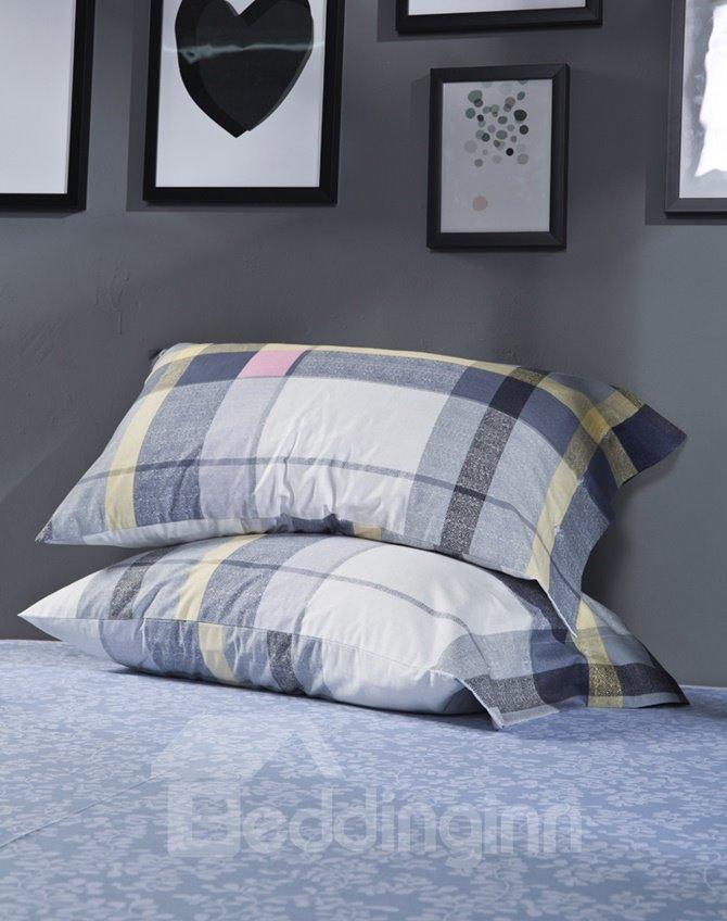 100% Cotton Plaid Print 4-Piece Duvet Cover Sets