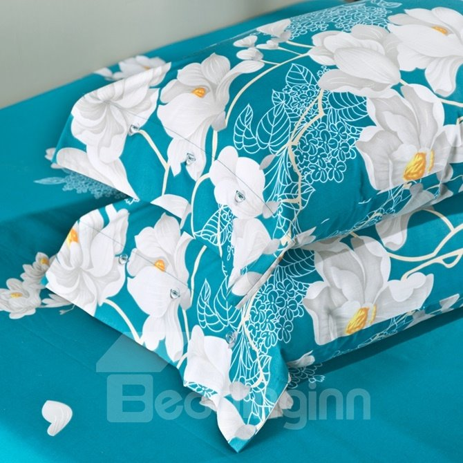 Fresh White Magnolia Print Blue 4-Piece Cotton Duvet Cover Sets