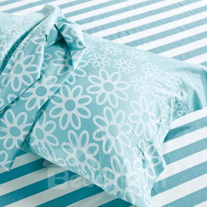 Simple Letter Print Sky Blue 4-Piece Cotton Duvet Cover Sets