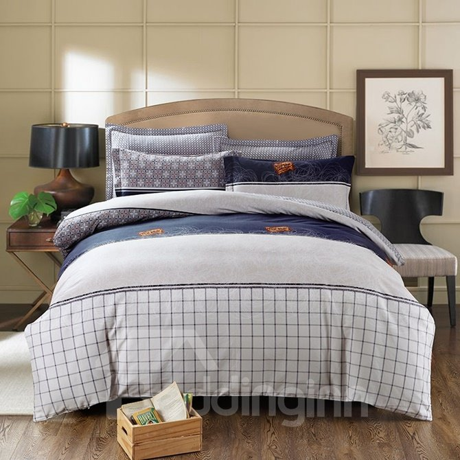 Minimalist Style Plaid Print 4-Piece Cotton Duvet Cover Sets