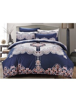Vintage Style Generous 4-Piece Cotton Duvet Cover Sets