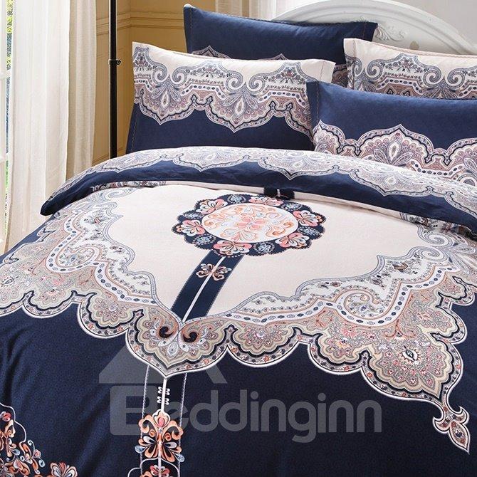 Vintage Style Generous 4-Piece Cotton Duvet Cover Sets
