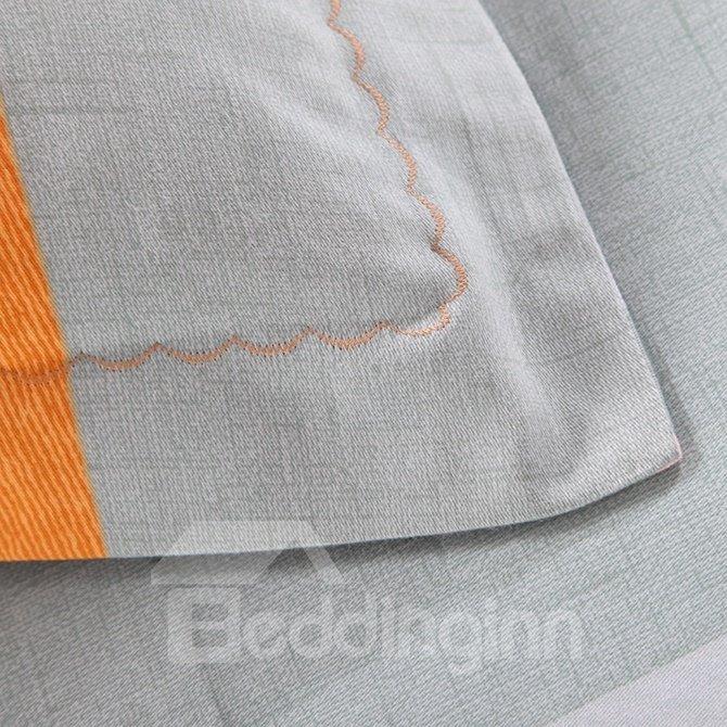 Simple Color Block Print 4-Piece Cotton Duvet Cover Sets
