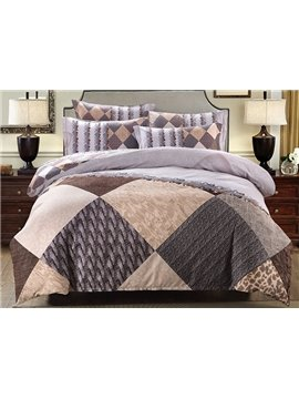 Neutral Style Diamond Print 4-Piece Cotton Duvet Cover Sets