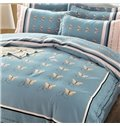 Unique Butterfly Print 4-Piece Cotton Duvet Cover Sets