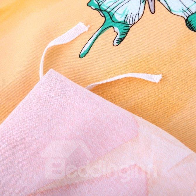Fancy Paper Crane Print 4-Piece Cotton Duvet Cover Sets