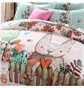 Lovely Cartoon Rabbit Print 4-Piece Cotton Duvet Cover Sets