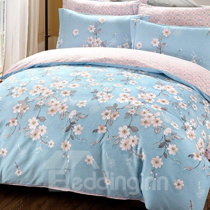 Country Blooms Print Blue 4-Piece Cotton Duvet Cover Sets