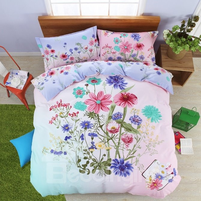 Amazing Multi Floral Print 100% Cotton 4-Piece Duvet Cover Sets