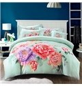 Country Peony Print Mint Green 4-Piece Cotton Duvet Cover Sets