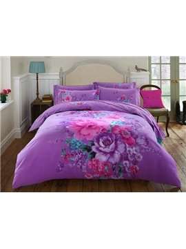 Noble Purple Peony Print 4-Piece Cotton Duvet Cover Sets