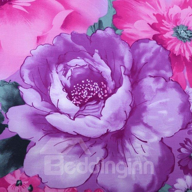 Noble Purple Peony Print 4-Piece Cotton Duvet Cover Sets