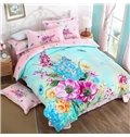 Wonderful Brilliant Blossoms Print 4-Piece Cotton Duvet Cover Sets