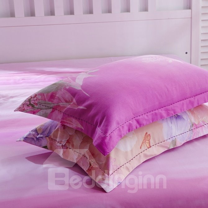 Sweet Tulip and Butterfly Print 4-Piece Cotton Duvet Cover Sets