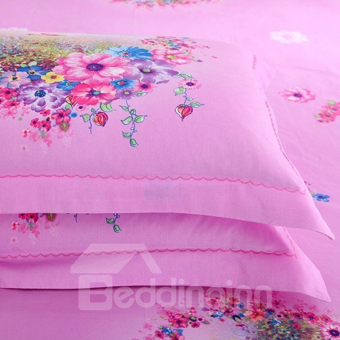 Cozy Admirable Floral Print 4-Piece Cotton Duvet Cover Sets