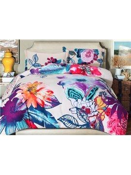 Chic Bright Floral Print 4-Piece Cotton Duvet Cover Sets