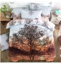 Stunning Lifelike Tree Print 4-Piece Cotton Duvet Cover Sets
