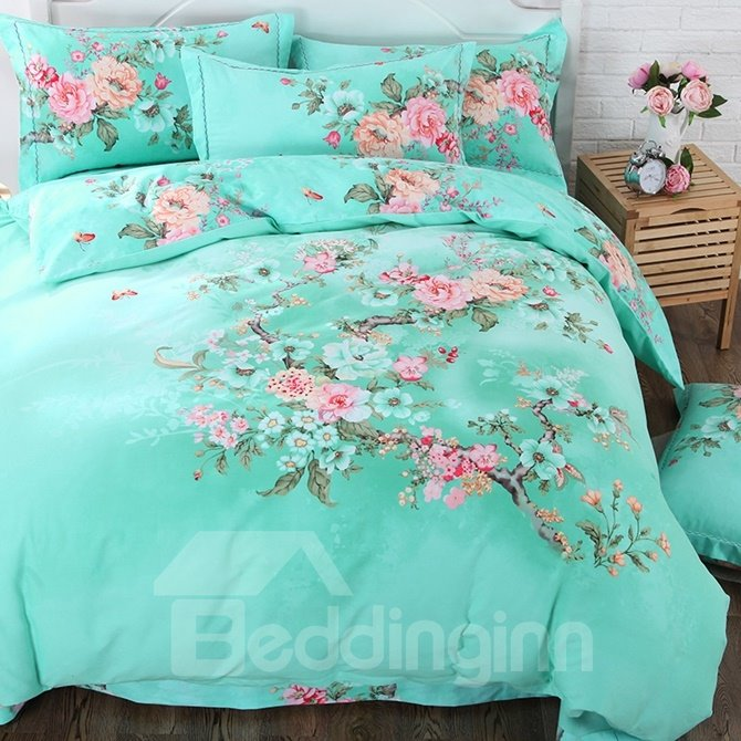 Fresh Green Vivid Pink Blooms Print 4-Piece Cotton Duvet Cover Sets