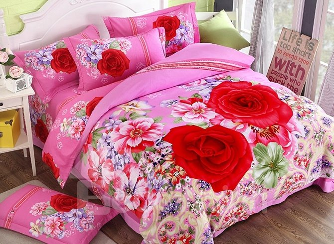 Inviting Red Rose Print 4-Piece Cotton Duvet Cover Sets