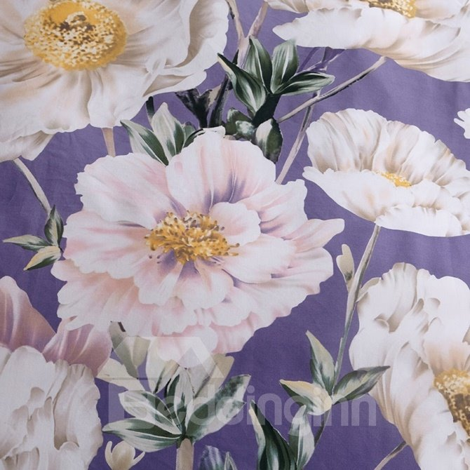 Likable Country Blooms Print Purple 4-Piece Cotton Duvet Cover Sets