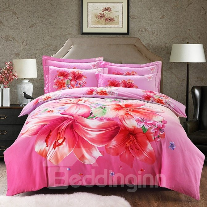 Lovely Pink Lily Print 4-Piece Cotton Duvet Cover Sets