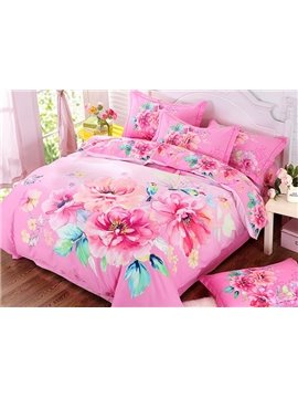 Inviting Pink Peony Print 4-Piece Cotton Duvet Cover Sets