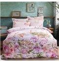 Exquisite Pastoral Blooms Print 4-Piece Cotton Duvet Cover Sets