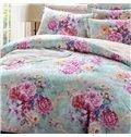 Fancy Multicolor Peony Print 4-Piece Duvet Cover Sets