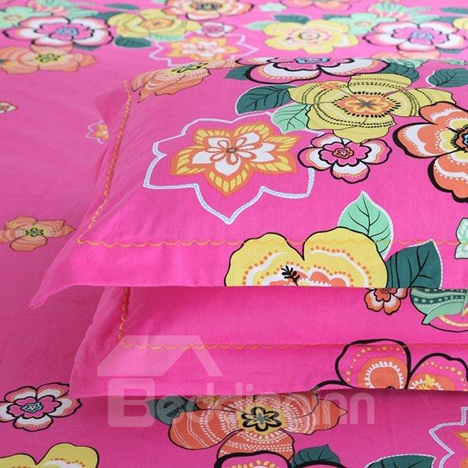 Gorgeous Colorful Floral Print 4-Piece Cotton Duvet Cover Sets
