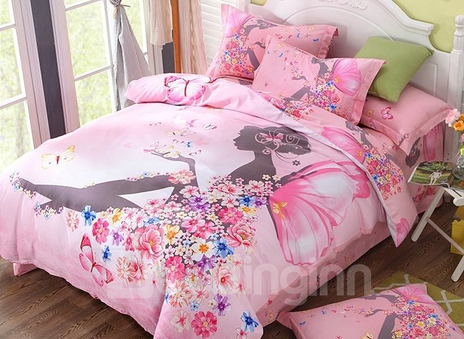 Flower Fairy Printed Cotton 4-Piece Pink Duvet Covers/Bedding Sets
