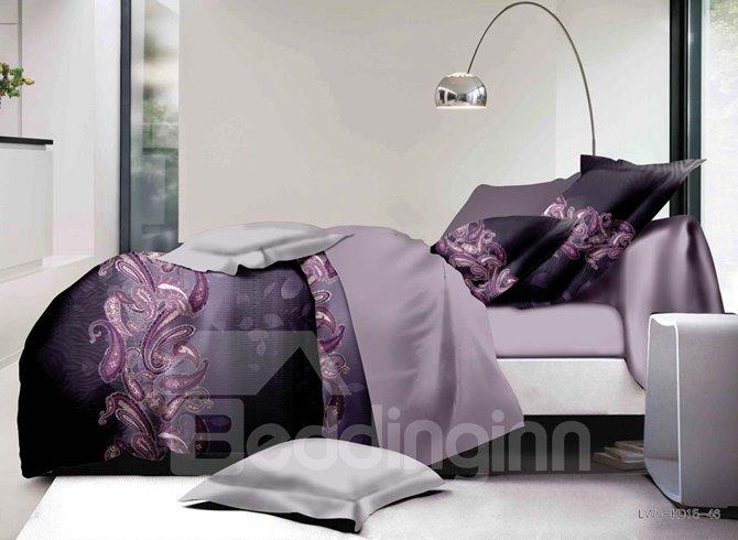 Purple Paisley Print Polyester 4-Piece Bedding Sets/Duvet Covers
