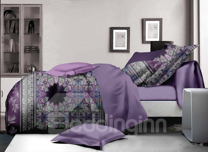 Light Purple Damask Print 4-Piece Polyester Duvet Cover Sets
